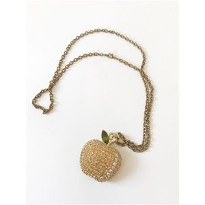 Jewelry - Rhinestone Apple pendant necklace